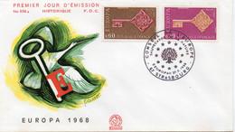 Premier Jour N° 1556 Et 1557 Europa 27/04/1968 Strasbourg édition Coq - 1960-1969