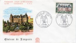 Premier Jour N° 1559 Château De Langeais 04/05/1968 Langeais édition Coq - 1960-1969