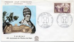 Premier Jour N° 1562 Anniversaire De L'enclave Des Papes 25/05/1968 Valréas édition Coq - 1960-1969