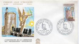 Premier Jour N° 1566 Tour De Constance 31/08/1968 Aigues Mortes édition Coq - 1960-1969