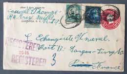 USA, Entier + Complément De GASTONIA, N.C. 1.3.1930 Pour La France - (C1764) - Covers & Documents