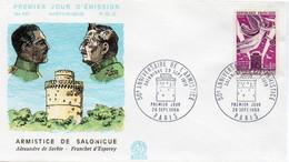 Premier Jour N° 1571 Anniversaire De L'Armistice Salonique 28/09/1968 Paris édition Coq - 1960-1969