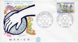 Premier Jour N° 1573 Jeux Olympiques México 12/10/1968 Paris édition Coq - 1960-1969