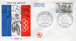 Premier Jour N° 1573 Jeux Olympiques México 12/10/1968 Paris édition Farcigny - 1960-1969