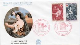 Premier Jour N° 1580 à 1581 Croix Rouge Mignard 14/12/1968 Paris édition Coq - 1960-1969