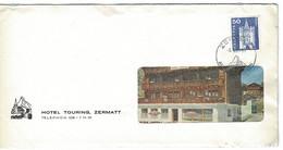 Enveloppe - Hotel TOURING ZERMATT  1966, Dépliant à L'intérieur. - Covers & Documents