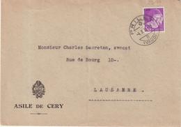 """SUISSE : OBL . """" PRILLY """" SUR LETTRE A ENTETE DE L'ASILE DE CERY . 1935 . - Briefe U. Dokumente"""