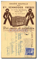 CPA Publicite Societe Nouvelle Des Ets Schneider Freres Rue Jean Daudin Paris 5eme Radio - Publicidad