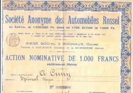 Automobiles Rossel  Action Nominative De 1000 Francs ( Reproduction ) Usines De Sochaux ( Doubs ) Et De Suresnes ( Seine - Cars