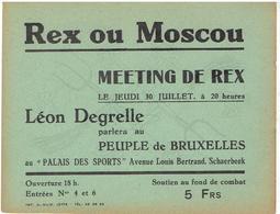 Carte Pub REX Ou Moscou : LEON DEGRELLE / Meeting De Rex à Schaerbeek (soutien Au Fond De Combat) 5 FR - Programas