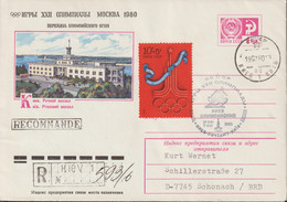 Soviet Upfranked Postal Stationary Moscow Olympic Games Posted Registered From Kiev 1980 To Germany (EB1-64) - Sommer 1980: Moskau