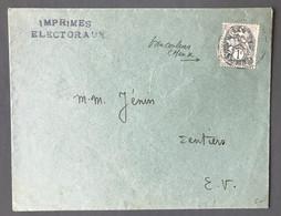 France N°107 Sur Enveloppe - Tarif Imprimés Electoraux - (C2050) - 1877-1920: Periodo Semi Moderno