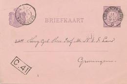 Nederland - 1896 - 2,5 Cent Briefkaart Met Treinstempel KR LEEUWARDEN-MEPPEL Naar Groningen - Covers & Documents