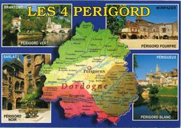 CPM Géographique - Dordogne LES 4 PERIGORD, Multi Vues - N° 04761 Editions RENE - TBE - Maps