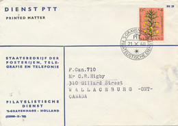 Nederland - 1960 - 6 Cent Zomerzegel, Enkelfrankering Op PTT-Drukwerk Van Den Haag Naar Wallaceburg / Canada - Briefe U. Dokumente