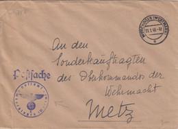 Lettre En Franchise De Morhange (T329 Mörchingen Westmark C), Le 21/1/43 + Cachet Violet Postsache - Elzas-Lotharingen