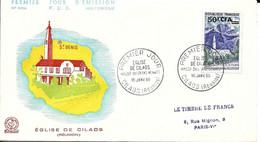 1er Jour Eglise De Cilaos Massif Du Grand Benard 16.01.1960 Timbre N° 352A - Storia Postale