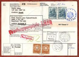 Paketkarte, Marcus U.a., Muenchenstein Ueber Basel Freiburg Nach Velbert 1975 (2705) - Covers & Documents