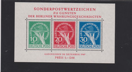 Berlin (West) 1949 Block 1 ** Superbe - Für Berliner Währungsgeschädigte - Ongebruikt