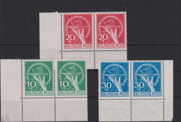 Berlin (West) 1949 Für Berliner Währungsgeschädigte Mi 68-70 ** Superbe - Waagerechte Paare Als Eckrandstücke - Unused Stamps