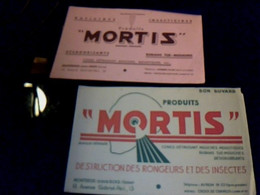 Vieux Papier Publicité Buvards X2 Mortis Raticides Insecticide Usines à Montreuil - Sous-bois - M