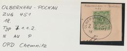 "2 030 Briefstück Bahnpost ""OLBERNHAU-POCKAU"" Ca. 1899 - Usados"