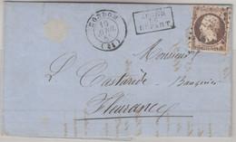 Frankreich - 40 C. Napoleon Brief Ra2 Apres Le Depart Condom - Fleurance 1858 - Unclassified
