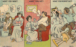 """What A Woman Can Expectfrom Marriage"""" Humorous Vintage English Postcard - Humor"""