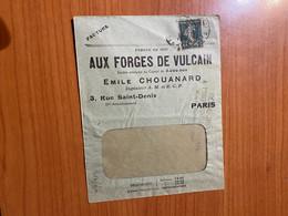 Enveloppe Facture - Aux Forges De Vulcain - Émile Chouanard - Timbre Perforé ( Voire Scan ) - Perfins