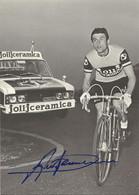 CARTE CYCLISME ALESSIO ANTONINI SIGNEE TEAM JOLLJCERAMICA 1973 ( VOIR PARTIE ARRIERE ) - Radsport