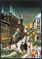 E6086 - TOP Ingeborg Born Künstlerkarte - Weihnachtsstimmung Lübeck - Naive Malerei - Verlag Schöning - Autres