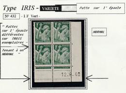PATTES SUR L'EPAULE DIFFERANTES SUR TROIS EXEMPLAIRES TENANT A UN NORMAL - Curiosités: 1931-40 Neufs