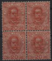 1891-96 Umberto I 20 C. MNH Quartina - Neufs