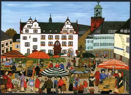 E6104 - TOP Edeltraud Lehmann Künstlerkarte - Darmstadt Wochenmarkt - Naive Malerei - Verlag Schöning - Altri