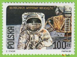 Voyo POLAND Landing On The Moon 1989 Mi#3206 IA  ** MINT Cosmos - Unused Stamps