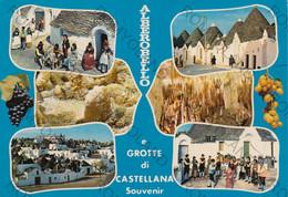 CARTOLINA  ALBEROBELLO, BARI, PUGLIA E GROTTE DI CASTELLANA, SOUVENIR, COSTUMI , ANIMATA ,VIAGGIATA 1987 - Bari