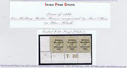 Ireland 1922 Thom Rialtas Blue-black Ovpt 1s Bistre-brown Control T22 Perf Corner Strip 3 Plate 5 Mint Ex Field - Unused Stamps