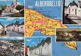 CARTOLINA  ALBEROBELLO, BARI, PUGLIA MAPA,,NOTTURNO,  TRULLI, COSTUMI , ANIMATA , VIAGGIATA 1977 - Bari