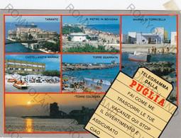 CARTOLINA   PUGLIA, TARANTO, S,PIETRO IN BEVAGNA, MARINA DI TORRICELLA, TORRE SGARRATA, TORRE COLIMENA, VIAGGIATA 1976 - Bari