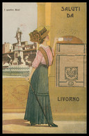 Cp Système SANS Vue - Saluti Da LIVORNO - I Quattro Mori - Régie Poste - Femme Au Chapeau - Edit. FUMAGALLI - Livorno