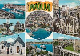 CARTOLINA    PUGLIA,BRINDISI, ALBEROBELLO, FOGGIA, CASTEL DEL MARE, LECCE, BARI, TARANTO, BARLETTA, VIAGGIATA 1966 - Bari
