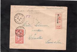 LSC - Recommandé Et Cachet ANTIBES Sur Merson YT 119 - Au Dos Cachet CHAROLLES - 1877-1920: Semi-Moderne