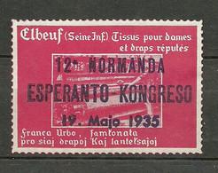ESPERANTO 1935 Vignette Poster Stamp Congress France Elbeuf (Seine) (*) - Esperánto