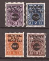 1941 X  28-31  CROAZIA HRVATSKA NDH OVERPRINT MNH - Croatie
