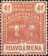 MADAGASCAR - BRITISH INLAND MAIL - SG58 - 4d Rose ROAVOAMENA - Mint Hinged / Neuf* - Unused Stamps