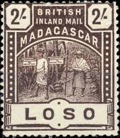 MADAGASCAR - BRITISH INLAND MAIL - SG61 - 2/- Chocolate LOSO - Mint Hinged / Neuf* - Unused Stamps