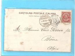 LAGO MAGGIORE - CARTE ENVOYEE De SUISSE Pour BONE ( ALGERIE ) EN PASSANT PAR MARSEILLE (FRANCE )le 4-3-1899 §§ 2 Scanes - Non Classificati