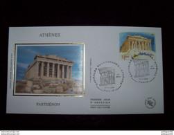 FRANCE 2004_Enveloppe 1er Jour_fdc_soie_Capitales Européennes Athènes, Parthénon Oblit PJ Paris 11/11/04. - 2000-2009