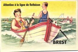 Carte à Systeme Attention  à La Ligne De Flottaison  BREST 3 Scans - Brest