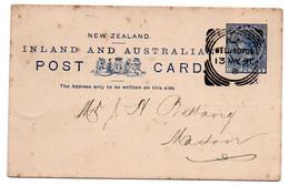 Nouvelle Zélande - Entier Postal Départ Wellington   --    1891 - Ohne Zuordnung